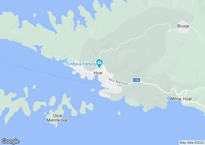 Map for Split-Dalmatia, Hvar Island