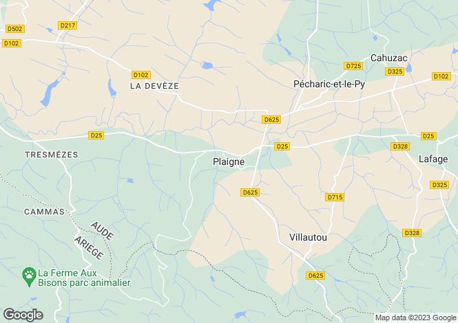 Map for Plaigne, Languedoc-Roussillon, 11420, France