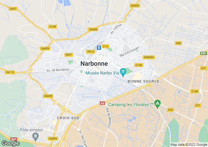 Map for Narbonne, Aude