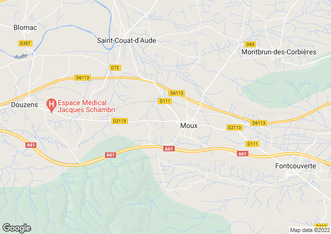 Map for moux, Aude, France