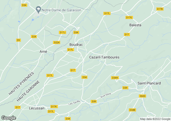 Map for cazaril-tamboures, Haute-Garonne, France
