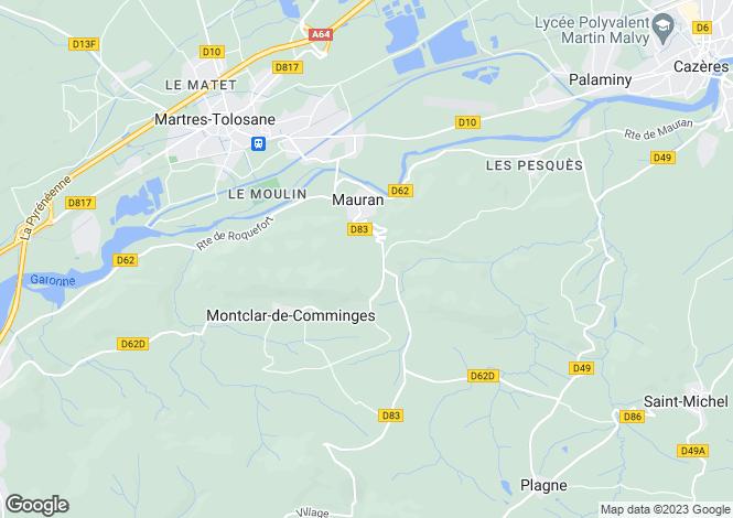 Map for mauran, Haute-Garonne, France