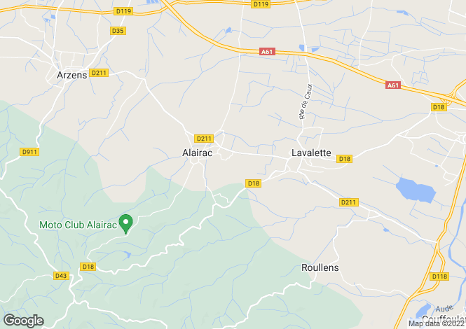 Map for Languedoc-Roussillon, Aude, Alairac