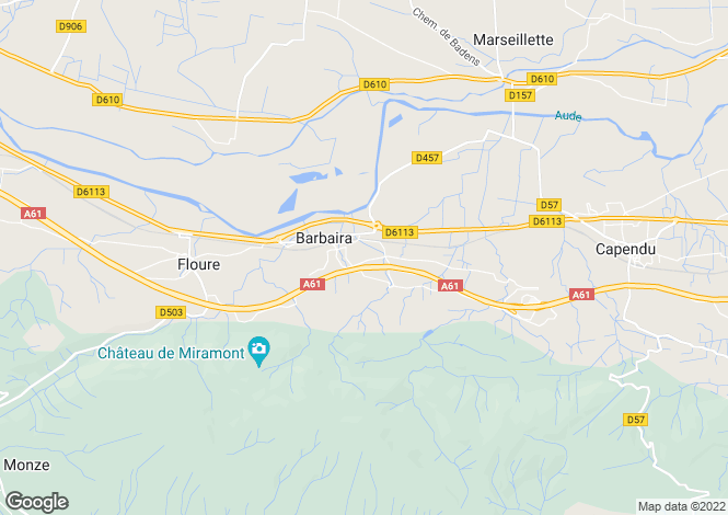 Map for Languedoc-Roussillon, Aude, Barbaira