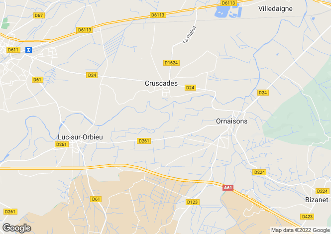 Map for Languedoc-Roussillon, Aude, Cruscades