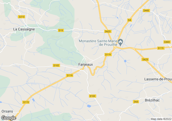 Map for Languedoc-Roussillon, Aude, Fanjeaux