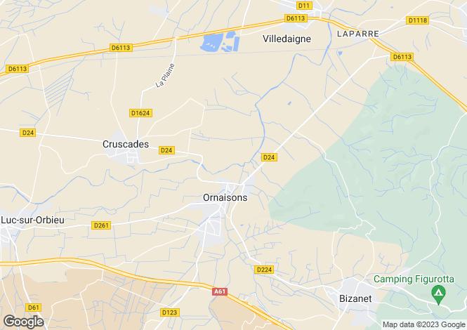 Map for Languedoc-Roussillon, Aude, Ornaisons