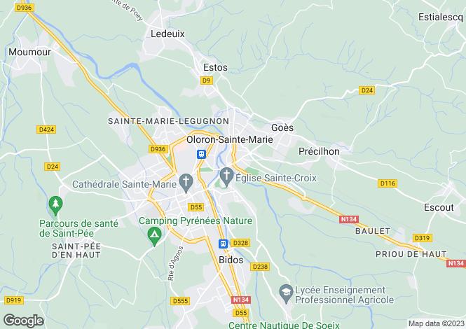 Map for Oloron-Sainte-Marie, Pyrénées-Atlantiques, Aquitaine