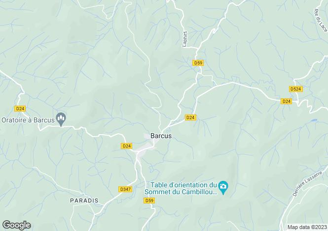 Map for Aquitaine, Pyrénées-Atlantiques, Barcus
