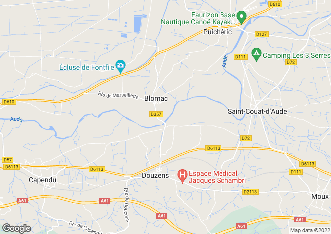 Map for blomac, Aude, France