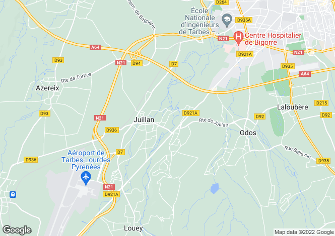 Map for Tarbes, Midi-Pyrenees, 65000, France