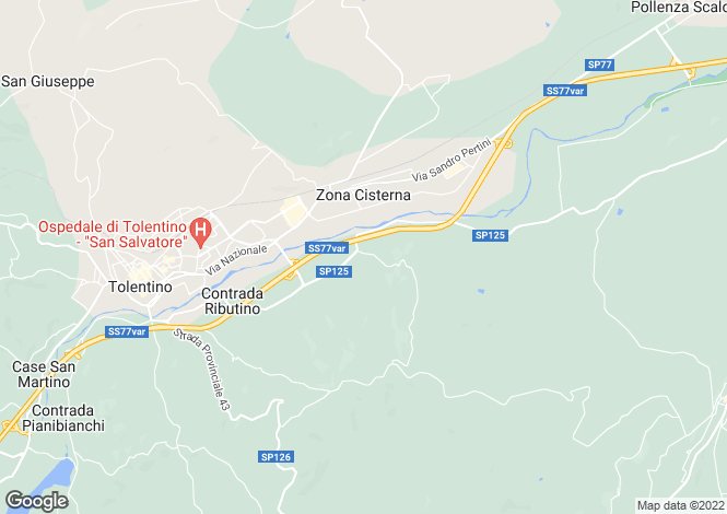 Map for Tolentino, Macerata, Le Marche