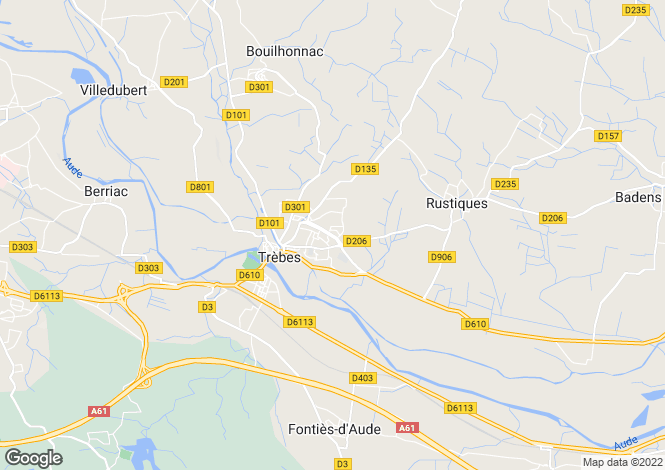 Map for trebes, Aude, France