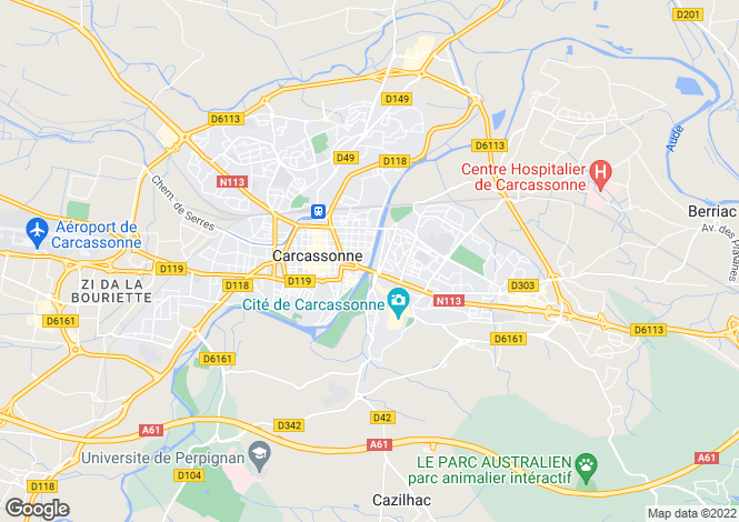 Map for Carcassonne, Aude, Languedoc-Roussillon