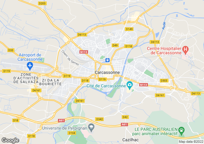 Map for Carcassonne, Aude
