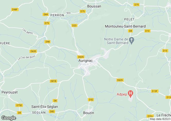 Map for Aurignac, Midi-Pyrenees, France