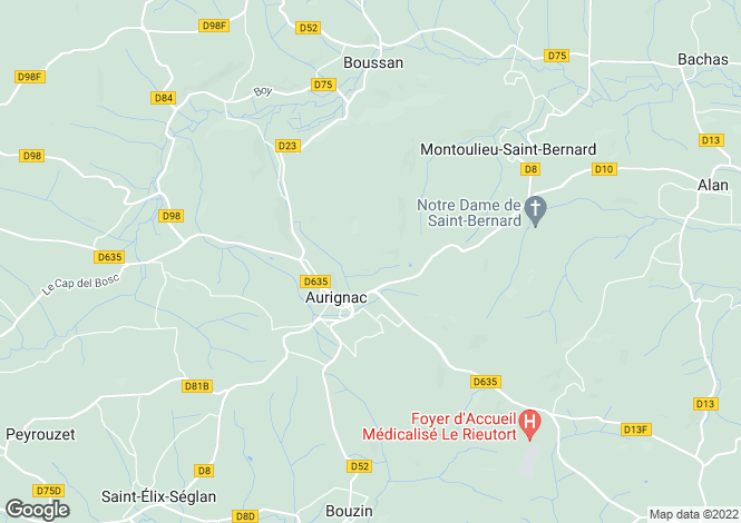 Map for aurignac, Haute-Garonne, France
