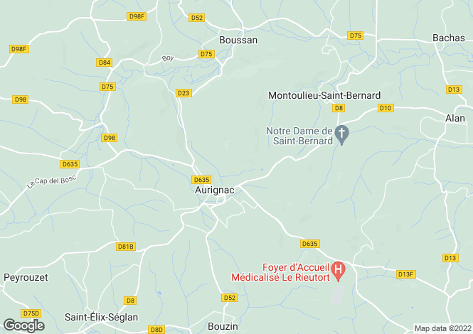 Map for Aurignac, Midi-Pyrenees, 31420, France