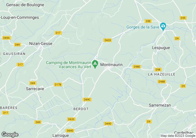 Map for Midi-Pyrénées, Haute-Garonne, Montmaurin