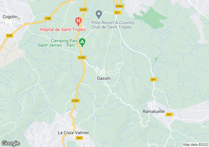 Map for Gassin, Saint Tropez, French Riviera