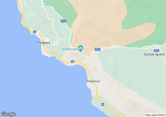 Map for Podgora, Split-Dalmatia