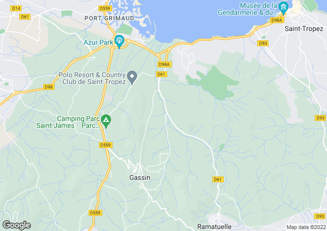 Map for Gassin, St Tropez, France