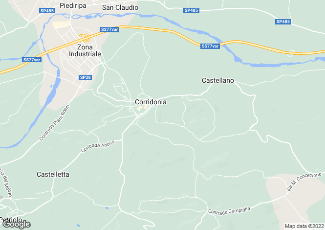 Map for Corridonia, Macerata, Le Marche