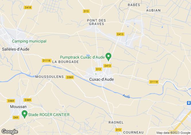 Map for cuxac-d'aude, Aude, France