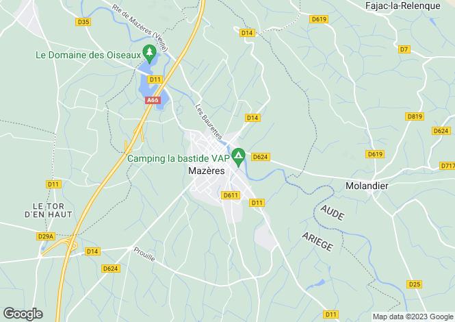 Map for Midi-Pyrénées, Ariège, Mazères