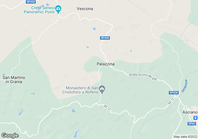 Map for Asciano, Siena, Tuscany