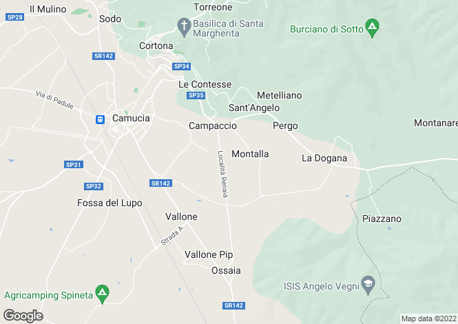 Map for Villa Travigne, Cortona, Arezzo, Tuscany