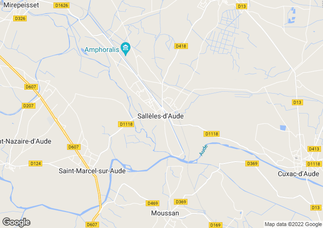 Map for salleles-d-aude, Aude, France