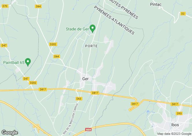Map for Aquitaine, Pyrénées-Atlantiques, Ger