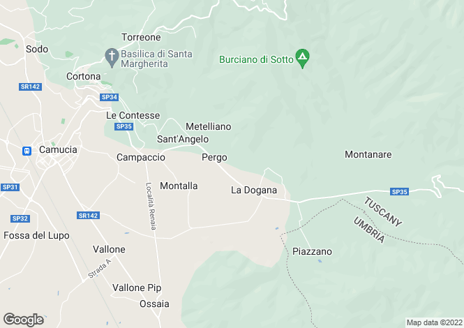 Map for Cortona, Arezzo, Tuscany