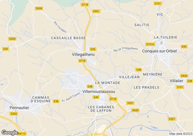 Map for Villemoustaussou, Aude, Languedoc-Roussillon