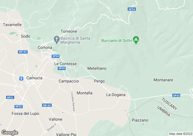 Map for Tuscany, Arezzo, Cortona