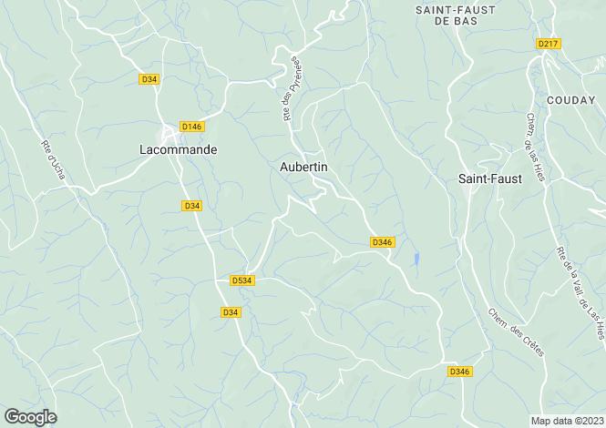 Map for aubertin, Pyrénées-Atlantiques, France