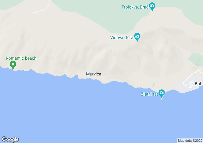 Map for Bol, Brac Island, Split-Dalmatia