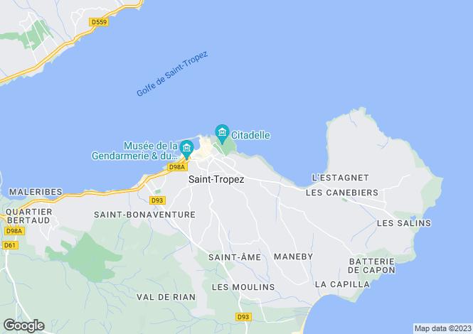 Map for Saint-Tropez, Var Coast, French Riviera
