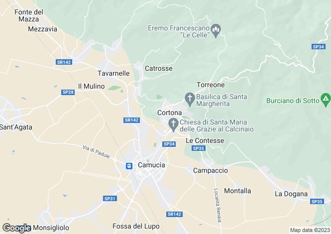 Map for Villa Fontana, Cortona, Arezzo, Tuscany