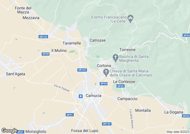 Map for Cortona, Arezzo, Tuscany