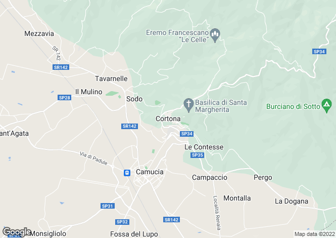 Map for Casa Antica, Cortona, Arezzo, Tuscany