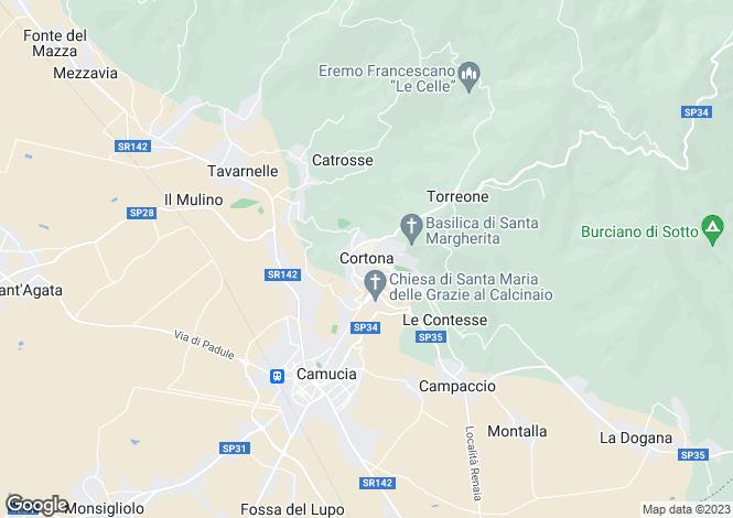 Map for Villa Gioia, Cortona, Tuscany, Italy