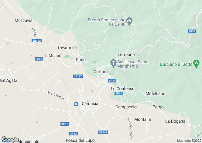 Map for Cortona, Tuscany, Italy