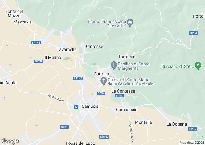 Map for s.p. 34, Cortona, Tuscany