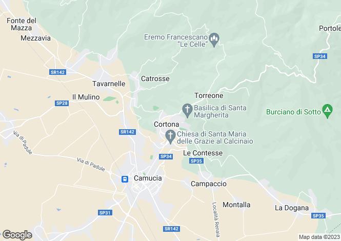 Map for Cortona, Arezzo, Italy