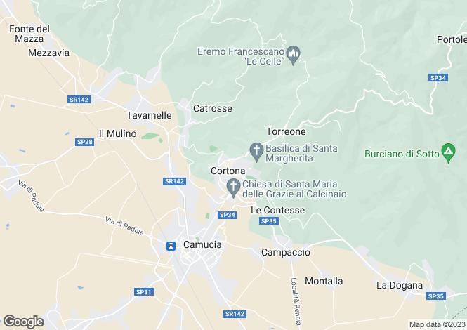 Map for Tuscany, Arezzo, Cortona