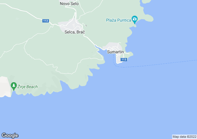 Map for Sumartin, Brac Island, Split-Dalmatia