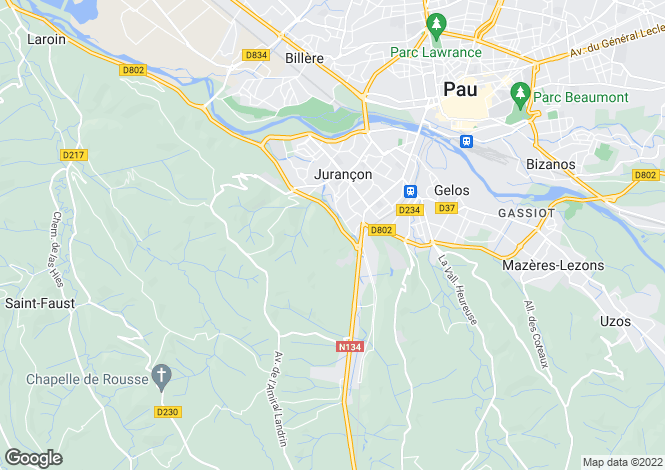 Map for JURANCON, Biarritz and Pau Area, S.W France - Aquitaine,