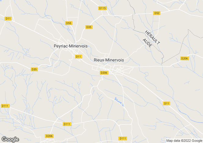 Map for rieux-minervois, Aude, France